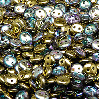 30pcs Czech Two Hole Pressed Glass Lentil Beads 6mm Crystal Golden Rainbow