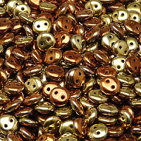 30pcs Czech Two Hole Pressed Glass Lentil Beads 6mm Crystal California Gold Rush