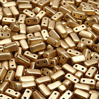 50pcs Czech Two Hole Pressed Glass Brick Beads 3x6 mm Crystal Bronze Fire Red Matte