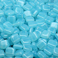 25pcs Two Hole Pressed CzechMates Glass Tile Beads 6mm Aqua Opal
