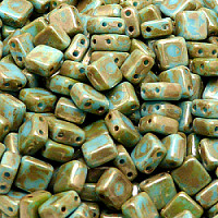 25pcs Two Hole Pressed CzechMates Glass Tile Beads 6mm Opaque Turquoise Blue Picasso