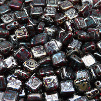 25pcs Two Hole Pressed CzechMates Glass Tile Beads 6mm Ruby Picasso