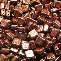 25pcs Two Hole Pressed CzechMates Glass Tile Beads 6mm Opaque Red Coral Violet Gold Picasso