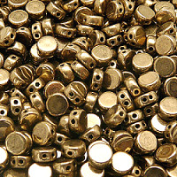 30pcs Two Hole Czech Pressed Glass Round Coin Beads 6mm Jet Gold Bonze Luster