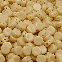 30pcs Two Hole Czech Pressed Glass Round Coin Beads 6mm Opaque Light Beige