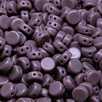 30pcs Two Hole Czech Pressed Glass Round Coin Beads 6mm Opaque Amethyst