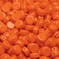 30pcs Two Hole Czech Pressed Glass Round Coin Beads 6mm Opaque Orange
