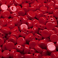 30pcs Two Hole Czech Pressed Glass Round Coin Beads 6mm Opaque Red Coral