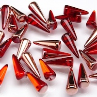 Czech Pressed Glass Beads, Spikes Light Siam Ruby / Capri Gold Transparent 7x17mm
