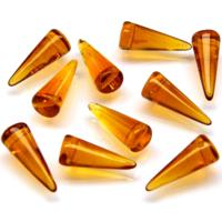 Czech Pressed Glass Beads, Spikes, Medium Topaz Transparent 7x17mm