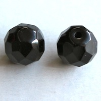 Czech Fire Polished Beads Half-Drilled Jet Opaque, 10mm, HD23980_10