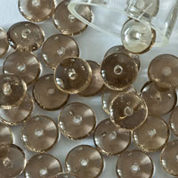 Czech Pressed Glass Beads, coin, gray transparent