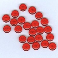 Czech Pressed Glass Coin Beads Red Transparent 6mm