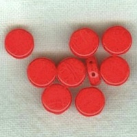 Czech Pressed Glass Two-Holed Coin Beads Red Opaque 8mm