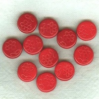 Czech Pressed Glass Beads, Coins With Flowers, Red Opaque 11mm