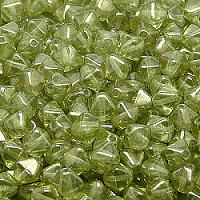 25pcs Czech Pressed Glass Bicone Lantern Beads 6mm Crystal Green Luster