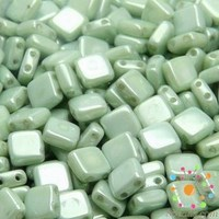 12pcs Two Hole Pressed CzechMates Glass Tile Beads 6mm Opaque Light Green Ceramic Look