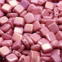 12pcs Two Hole Pressed CzechMates Glass Tile Beads 6mm Opaque Light Rose Ceramic Look