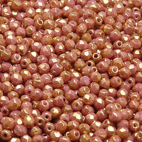 50pcs Czech Fire Polished Faceted Glass Beads Round 3mm Opaque Rose Ceramic Look