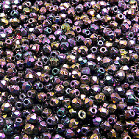 50pcs Czech Fire Polished Faceted Glass Beads Round 3mm Jet Red Iris