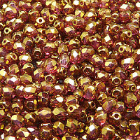 50pcs Czech Fire Polished Faceted Glass Beads Round 4mm Crystal Violet Gold Luster