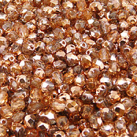 50pcs Czech Fire Polished Faceted Glass Beads Round 4mm Crystal Gold Capri