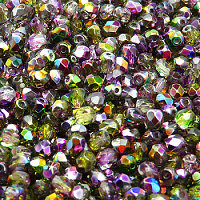 50pcs Czech Fire Polished Faceted Glass Beads Round 4mm Crystal Violet Green Magic