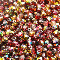 50pcs Czech Fire Polished Faceted Glass Beads Round 4mm Crystal Red Yellow Magic