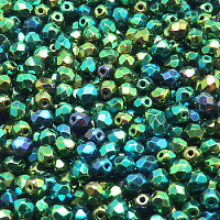 50pcs Czech Fire Polished Faceted Glass Beads Round 4mm Jet Green Iris