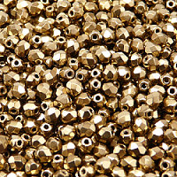 50pcs Czech Fire Polished Faceted Glass Beads Round 4mm Jet Gold Bronze Luster