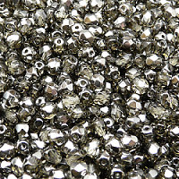 50pcs Czech Fire Polished Faceted Glass Beads Round 4mm Black Diamond Chrome