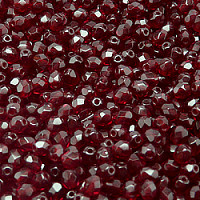 25 8mm Round Faceted Fire Polish Czech Glass Beads Garnet Red AB