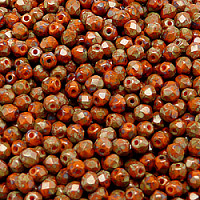 50pcs Czech Fire Polished Faceted Glass Beads Round 4mm Opaque Orange Travertine