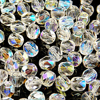 25pcs Czech Fire Polished Faceted Glass Beads Round 6mm Crystal AB