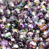 25pcs Czech Fire Polished Faceted Glass Beads Round 6mm Magic Violet Grey