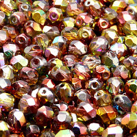 50pcs Czech Fire Polished Faceted Glass Beads Round 6mm Magic Red Yellow