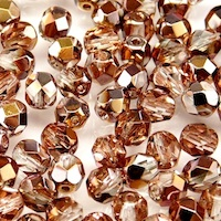 25pcs Czech Fire Polished Faceted Glass Beads Round 6mm Crystal Gold Capri