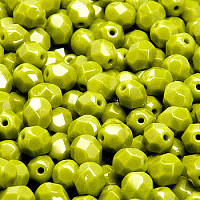 50pcs Czech Fire Polished Faceted Glass Beads Round 6mm Opaque Olivine
