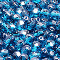 50pcs Czech Fire Polished Faceted Glass Beads Round 6mm Capri Blue