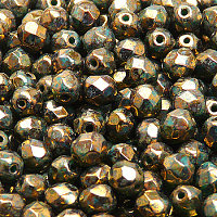 50pcs Czech Fire Polished Faceted Glass Beads Round 6mm Opaque Turquoise Green Violet Gold Picasso