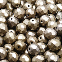 25pcs Czech Fire Polished Faceted Glass Beads Round 8mm Crystal Bronze Grey Rainbow Matte