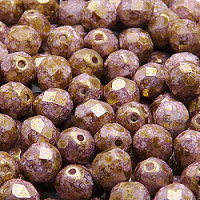 25pcs Czech Fire Polished Faceted Glass Beads Round 8mm Chalk White Violet Brown Senegal Matte