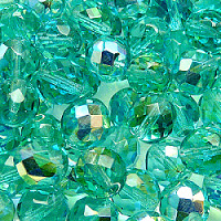 10pcs Czech Fire Polished Faceted Glass Beads Round 10mm Green Aquamarine AB