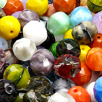 70gr Czech Fire Polished Faceted Glass Beads Round 10mm Colors Mix