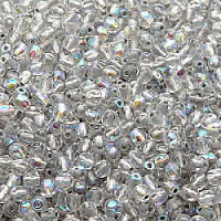 50pcs Czech Fire Polished Faceted Glass Beads Round 3mm Crystal Silver Lined AB