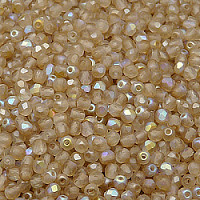 50pcs Czech Fire Polished Faceted Glass Beads Round 3mm Crystal Lemon Rainbow Matte