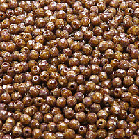 50pcs Czech Fire Polished Faceted Glass Beads Round 3mm Opaque Light Beige Picasso