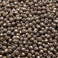 50pcs Czech Fire Polished Faceted Glass Beads Round 3mm Opaque Dark Amethyst Picasso