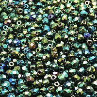 Round 6mm,Jet Blue Iris Czech Faceted Glass Beads 50pcs Fire-Polished Beads Opaque Blue Rainbow