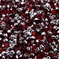 50pcs Czech Fire Polished Faceted Glass Beads Round 3mm Ruby Labrador